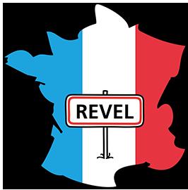 Ville de Revel sur carte de France